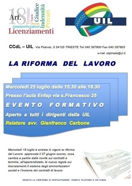 """25 luglio 2012 """"La riforma del lavoro"""""""